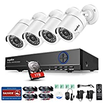 SANNCE 4-Channel HD 1080N Home Security System DVR and (4) 1.0MP Indoor/Outdoor Weatherproof CCTV Cameras with IR Night Vision LEDs, Remote Access - 1TB Surveillance Hard Disk Drive