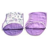 LAT 2 pack reversible cotton muslin burp cloths, Super Absorbent burpy bib (P...