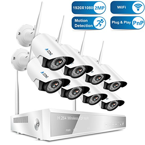 15. A-ZONE 8CH 1080P NVR Wireless Security Camera System