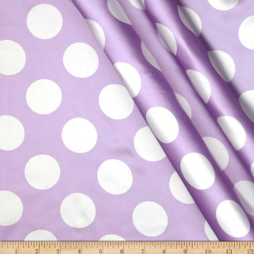 Ben Textiles Charmeuse Satin Large Polka Dots Lavender/White Fabric by The Yard ()
