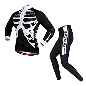 WOSAWE Men's Cycling Jersey Set Biking Shirt Long Sleeve Set, Breathable Quick Dry Shirt + 4D Cushion Padded Tights Pants