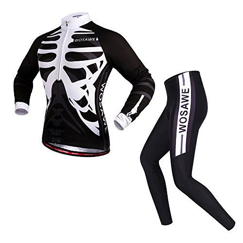 (WOSAWE Mens Breathable Cycling Jersey 4D Padded Breathable Quick Dry (Suit_Skeleton (Long Sleeve), L) )
