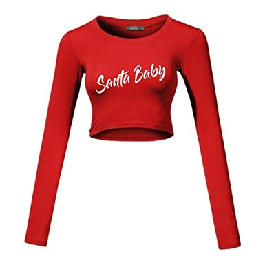 4f4ec34c32896 Santa Baby Crop Shirt- Womens and Juniors Red Long Sleeve Crop Top Santa  Baby Sexy