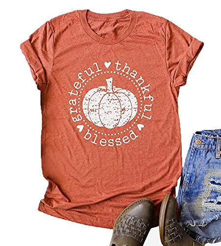 Enmeng Womens Pumpkin Blessed Shirt Casual Graphic Tops Fall Halloween Tees (L, Red)