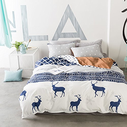 Deer Pattern Cotton Bedding Sets for Boys Girls Comforter Cover Zipper Closure 3 Pieces Quilt Cover Set