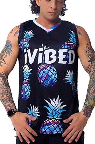 Mens Rave Jersey EDM Festival – Trippy Pineapple Blacklight Glow Tshirt Clothes