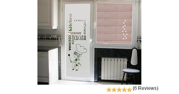 vinilo para cristales- COCINERA CON PALABRAS COCINA en diferntes idiomas, para puerta o ventana deja pasar la luz (50_x_195_cm): Amazon.es: Industria, empresas y ciencia