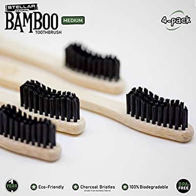 Stellar Natural Bamboo Toothbrushes | Medium Charcoal Teeth Whitening Bristles | 100% Biodegradable Eco-Friendly | Pack of 4