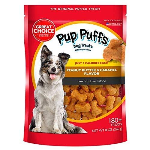 - Grreat Choice Pup Puffs Dog Treats Peanut Butter and Caramel 8oz