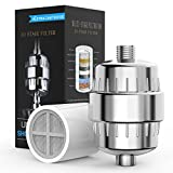 10 Stage Shower Filter with 2 Cartridges, Sarissa Universal Shower Water Filter for Any Shower Head and Handheld Shower, Removes Chlorine, Impurities and Harmful Substances, Chrome