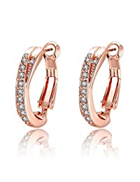 Bystar Women Rose Gold Plating with Row Cubic Zirconia Women Circle Hoop Earrings