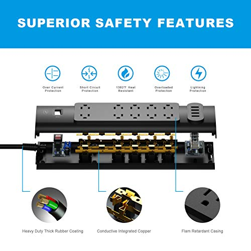 Power Strip, Bototek Surge Protector with 10 AC Outlets and 4 USB Charging Ports,1625W/13A 6 Feet Long Extension Cord for Smartphone Tablets Home,Office & Hotel- Black by bototek (Image #3)