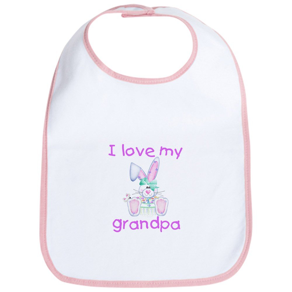 CafePress - I Love My Grandpa (Girl Bunny) Bib - Cute Cloth Baby Bib, Toddler Bib