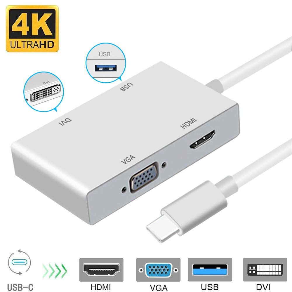 USB C to HDMI 4K Adapter, Weton USB 3.1 Type C to HDMI VGA DVI USB 3.0 Multi Monitors Hub Adapter Cable (Thunderbolt 3 Compatible) Compatible with MacBook/MacBook Pro/Chromebook Pixel by Weton