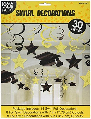 Yellow Graduation Swirl Decorations -