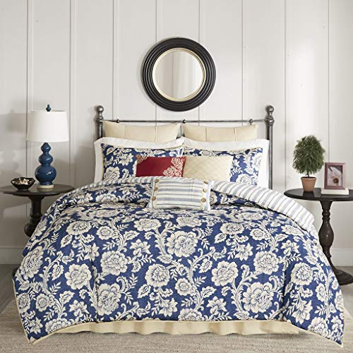 Madison Park Lucy Duvet Cover Cal King Size - Navy, Ivory, Reversible Floral, Stripes Duvet Cover Set - 9 Piece - Cotton Twill, Cotton Poly Blend Reverse Light Weight Bed Comforter Covers (Renewed) ()
