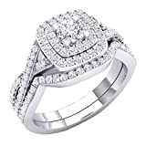 1.40 Carat (Ctw) 10K White Gold Round Cut Cubic Zirconia Ladies Halo Engagement Ring Set (Size 6)