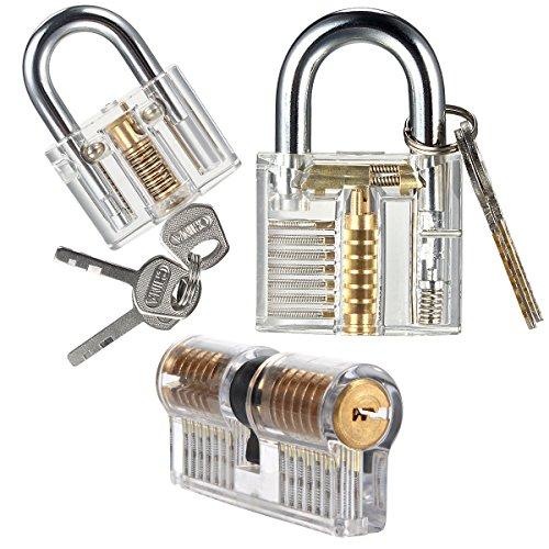 Sopoby Practice Lock Set, Transparent Training Crystal Keyed Padlock for picking, 3-pack of Locks for Locksmith Beginner - Practice Lock Cylinder