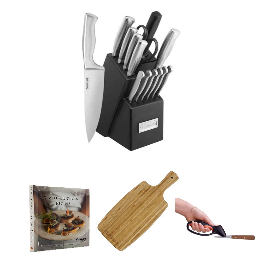 Cuisinart C77SS-15PK 15-Piece Stainless Steel Hollow Handle Block Set Includes Cuisinart Bamboo Cutting Board, Knife Sharpener and Cookbook