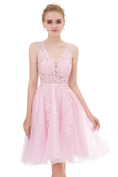 Annadress Women\'s Sleeveless Homecoming Dresses Short Net Bridesmaid ...