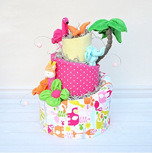 Diaper Cake for Unique Baby Girl Gift by Baby Blossom Company
