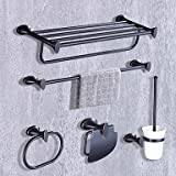 TY Contemporary Gold Brass 5PCS Bathroom Accessory Set Towel Shelf Towel Bar Towel Ring Brush Paper Holder