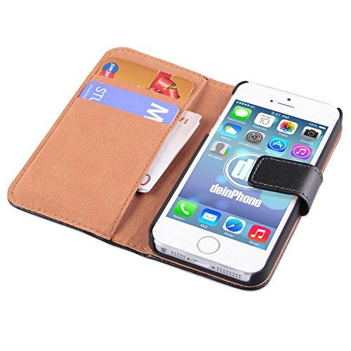 iPhone SE / 5 / 5s Set beschichtetes Leder Flip Case Schutz Hülle Kreditkartenfach in Schwarz + Panzerglas Displayschutz