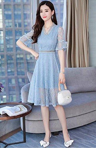 Kleid Blau Flare Retro Sommer Frauen Schlank Ausschnitt MoMo V Grau Linie Sleeve Lang A POqfw
