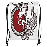 Custom Printed Drawstring Sack Backpacks Bags,Taurus,Astrology Calendar Bull Classic Animal Figure Person Symbolic Design Decorative,Ruby Chestnut Brown White Soft Satin,5 Liter Capacity,Adjustable St