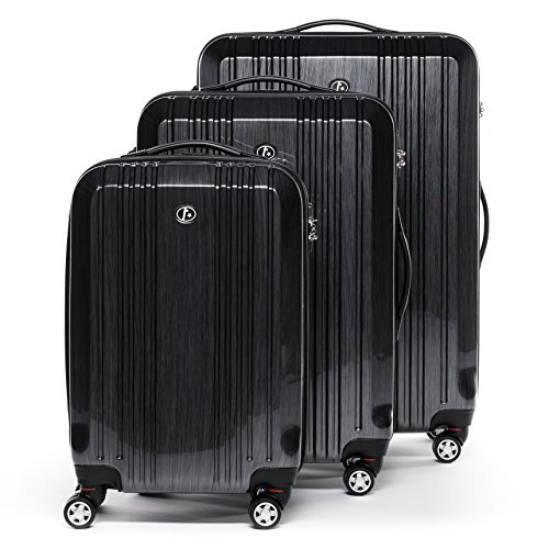 FERGÉ luggage set 3 piece carry-on large and XL - lightweight hard shell trolley TSA-lock CANNES graphite-wire | Polycarbonate suitcase set 4 twin spinner wheels - cabin hand luggage JetBlue Delta