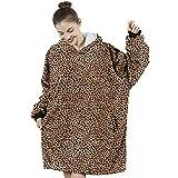 "AmyHomie Blanket Sweatshirt, Oversized Sherpa Hooded Sweatshirt,Wearable Fleecehug Hoodie Blanket with Pocket for Adults & Kids & Teen (Leopard, 35"")"