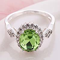 Women Fashion 925 Sterling Silver Green Peridot Gemstone Ring Wedding Jewelry (8)
