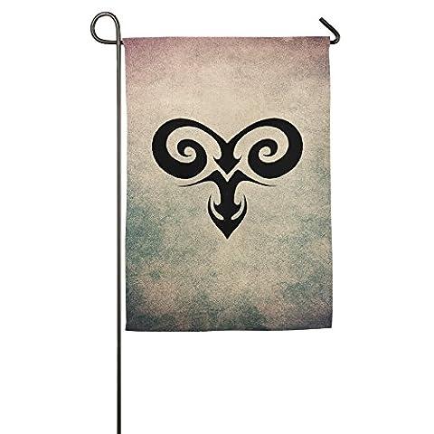 Printed Polyester Sturdy Aries Birth Month Design Zodiac Sign Personalized Graphic Garden Flag. (Aries Blackbird X10)