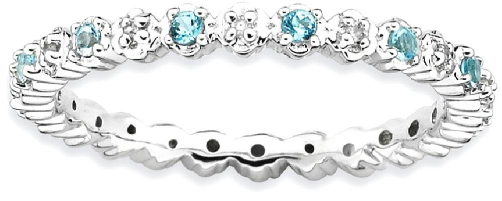 ICE CARATS 925 Sterling Silver Blue Topaz Diamond Band Ring Size 9.00 Stone Stackable Gemstone Birthstone December Fine Jewelry Gift Set For Women Heart