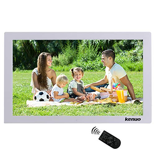 Digital Photo Frame 17 inch,Kenuo High HD 1440×900(16:9) Eletronic Photo Frame with Video Player Stereo MP3 Calendar Auto On/Off Timer – White