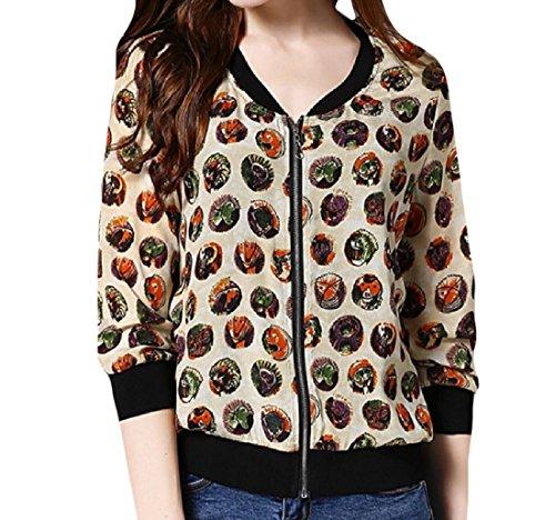AngelSpace Women's 100% Mulberry Silk Graphic Print Textured Outwear 1 XL (Textured Jacket Silk)