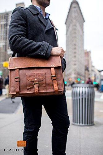 Leather Native 15'' New Crossbody Messenger Courier Large Unisex Genuine Vintage Leather Messenger Laptop Briefcase Satchel Bag Gift Men Women Laptop Computer Case Spring Sale! by Leather Native