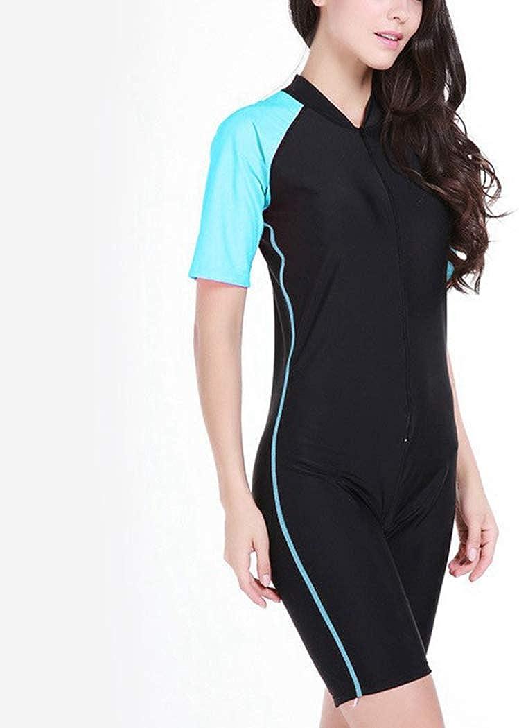 RON BILLY Women Wetsuit Swimwear Diving Swimming Suit Wet Surf Short Sleeve Swim Suits