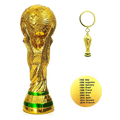 d Cup Trophy Replica Soccer Fans Souvenir - 10.5 Inch Tall and World Cup Trophy KeyChain ()