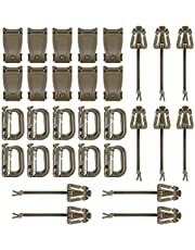 BOOSTEADY Kit of 30 Attachments for Molle Bag Tactical Backpack Vest Belt,D-Ring Grimloc Locking Gear Clip, Web Dominator Elastic Strings, Strap Management Tool Buckle
