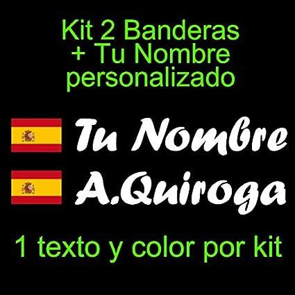 Vinilin Pegatina Vinilo Bandera España con Escudo + tu Nombre - Bici, Casco, Pala De Padel, Monopatin, Coche, Moto, etc. Kit de Dos Vinilos (Blanco): Amazon.es: Coche y moto