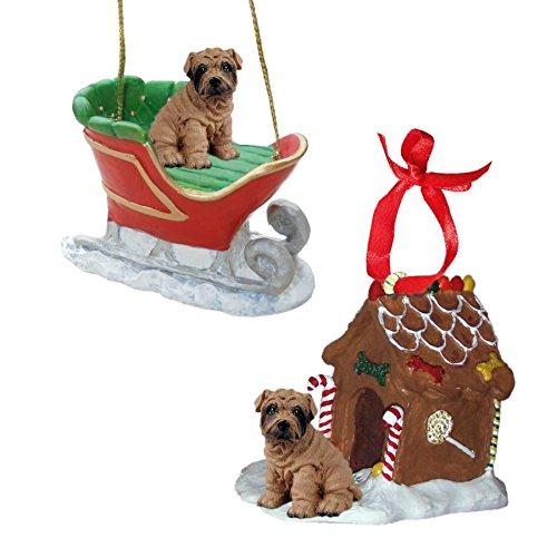 (Brown Shar Pei Figurine Christmas Ornaments)