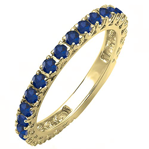 Dazzlingrock Collection 10K Round Blue Sapphire Eternity Sizeable Stackable Wedding Band, Yellow Gold, Size 6 ()