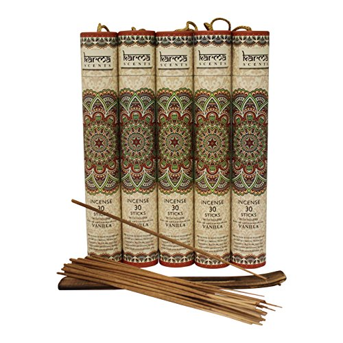 Vanilla Incense - Premium Vanilla Incense Sticks 5 Set Gift Pack with a Holder In Each Box, Includes 150 Sticks and Five Incense Burners