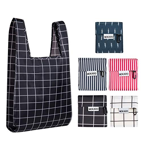 Mokaro Reusable Grocery Bags Large Ecofriendly Heavy Duty Set of 5 - Washable Grocery Tote with Pouch - 210D Oxford Cloth Foldable Waterproof Shopping Bags for Purse