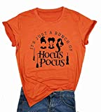 NANYUAYA It's Just A Bunch of Hocus Pocus T-Shirt Halloween Sanderson Sisters Cute Graphic Top Women Short Sleeve Tee Top