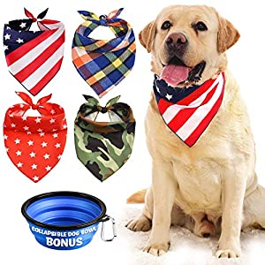 Dog Bandana, Bibs Scarf for Pet – 4Pcs Washable Cotton Triangle Kerchief, Adjustable Neckerchief Accessories for Small to Large Dogs Cats Pets, BONUS Pet Bowl Collapsible Silicon with Free Carabiner