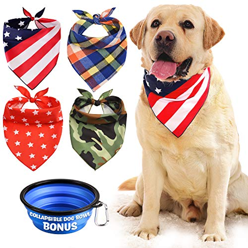 Dog Bandana, Bibs Scarf for Pet - 4Pcs Washable Cotton Triangle Kerchief, Adjustable Neckerchief Accessories for Small to Large Dogs Cats Pets, BONUS Pet Bowl Collapsible Silicon with Free Carabiner