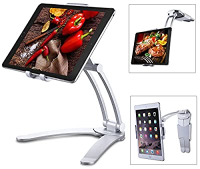 """Jubor iPad Stand, 2-in-1 Kitchen Tablet Stand, Adjustable Wall Mount for iPad Pro, Surface Pro, Nintendo Switch, iPad Mini, 7""""-13"""" Tablet, EASY INSTALL 360¡ãRotating CounterTop Desk Recipe Holder"""