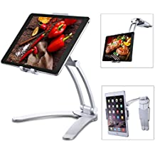 """Jubor iPad Stand Wall Mount, 2-in-1 Kitchen Tablet Holder for iPad Pro, Surface Pro, Nintendo Switch, iPad Mini, 7""""-12"""" Tablet, Adjustable Easy Install 360° Rotating CounterTop Desk Recipe"""